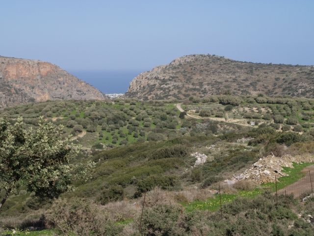 For sale in Crete village land with sea view
