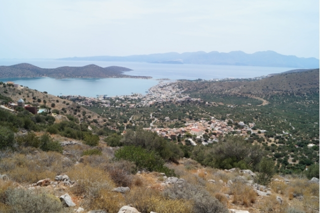 Building plot with panoramic view for sale in the village of Pines, Elounda