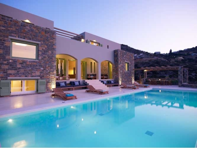 Crete luxury 8 bedroom villa with pool, sea view is for rent in Elounda